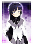 1girl akemi_homura akemi_homura_(cosplay) bangs black_hair blush cosplay gokou_ruri hairband ikari_manatsu long_hair mahou_shoujo_madoka_magica mole mole_under_eye ore_no_imouto_ga_konna_ni_kawaii_wake_ga_nai purple_eyes revision skirt solo