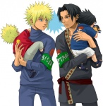 4boys armband blonde_hair carrying character_doll doll eye_contact father_and_son long_sleeves looking_at_another male_focus multiple_boys namikaze_minato naruto naruto_(series) shoulder_carry sui-sui toddler uchiha_fugaku uchiha_itachi uchiha_sasuke uzumaki_naruto younger
