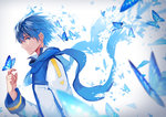 1boy bangs blue blue_eyes blue_hair blue_scarf butterfly_on_hand feng_you highres kaito long_sleeves male_focus scarf smile vocaloid