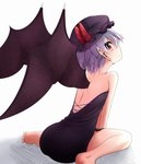 1girl alternate_costume arm_support bat_wings bed_sheet black_clothes black_dress dress from_behind lavender_hair looking_at_viewer looking_back mob_cap off-shoulder_dress pointy_ears remilia_scarlet short_hair side_slit sitting touhou wariza wings