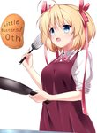 1girl :o ahoge anniversary apron blonde_hair blue_eyes bow copyright_name food frying_pan hair_bow kamikita_komari little_busters! open_mouth pancake red_apron red_bow shirt short_hair simple_background solo spatula tagame_(tagamecat) upper_body white_background white_shirt