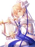 1girl blonde_hair bow brown_eyes djeeta_(granblue_fantasy) dress elysian_(granblue_fantasy) granblue_fantasy hair_bow hair_ribbon harp highres instrument looking_at_viewer ribbon shinooji smile