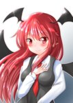 1girl bangs bat_wings black_dress blush breasts closed_mouth collared_shirt dress head_wings highres koakuma long_hair long_sleeves looking_at_viewer medium_breasts necktie oshiaki pointy_ears red_eyes red_hair red_necktie shirt smile solo touhou upper_body white_shirt wings
