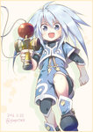 1boy 2016 artist_name blue_eyes blush boots child dated genius_sage grey_hair kendama long_hair male_focus open_mouth solo tales_of_(series) tales_of_symphonia tanaki_yui