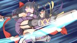 1girl black_hair bow garter_straps glowing glowing_eyes hair_bow long_hair ninja ole_tower planer_(ole_tower) purple_eyes purple_hair scarf solo speed_lines yuto_(dialique)