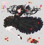 1girl :d arms_up artist_name bangs black_dress black_hair blush bow breasts cake chocolate commission dress floating_hair food frills fruit full_body gothic_lolita high_heels horns jumping lolita_fashion long_hair looking_at_viewer medium_breasts multicolored_hair open_mouth orange original peach red_eyes red_hair ribbon smile solo strawberry streaked_hair tr6247 very_long_hair waffle wide_sleeves