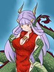 1girl blush breasts bursting_breasts buttons china_dress chinese_clothes claws cleavage dragon dragon_ears dragon_girl eastern_dragon head_fins highres horns lamia large_breasts long_hair mithril_(pixiv9140955) monster_girl monster_girl_encyclopedia popped_button purple_hair ryuu_(monster_girl_encyclopedia) scales solo tail wardrobe_malfunction yellow_eyes