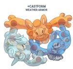 artist_name castform character_name commentary creature dar-draws english_commentary english_text eye_contact full_body fusion gen_3_pokemon gen_5_pokemon highres looking_at_another looking_at_viewer no_humans pokemon pokemon_(creature) reuniclus signature simple_background white_background