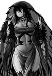 1girl banshee_(monster_girl_encyclopedia) bare_shoulders black_dress black_hair black_legwear breasts covered_nipples detached_sleeves dress fur_trim greyscale hair_between_eyes heart heart-shaped_pupils highres large_breasts long_hair monochrome monster_girl monster_girl_encyclopedia navel nipples no_panties pale_skin pointy_ears see-through side_slit simple_background skull solo symbol-shaped_pupils tears thighhighs undead veil white_background wide_sleeves zakirsiz