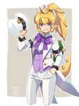 1girl argyle blonde_hair blue_eyes bow bowsette bowtie bracelet checkered checkered_pants commentary_request cropped_legs crown diagonal_stripes formal grin hat headwear_removed horns jewelry mario_(series) new_super_mario_bros._u_deluxe pant_suit pants pointy_ears ponytail sharp_teeth shell signature smile solo sou_(pale_1080) spiked_armlet spiked_bracelet spiked_tail spikes striped suit super_crown super_mario_odyssey tail tailcoat teeth top_hat tuxedo