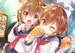 2girls anchor_symbol black_sailor_collar black_skirt brown_eyes brown_hair commentary crepe folded_ponytail food food_in_mouth fruit hair_between_eyes hair_ornament hairclip highres holding holding_food ikazuchi_(kantai_collection) inazuma_(kantai_collection) kantai_collection long_hair long_sleeves mayuzaki_yuu multiple_girls neckerchief one_eye_closed open_mouth pleated_skirt red_neckwear sailor_collar school_uniform serafuku shirt short_hair skirt strawberry white_serafuku white_shirt