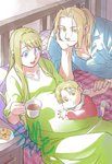 1girl 2boys baby backlighting bed bed_sheet blackfoxes blonde_hair blue_eyes blue_shirt cheek_press chin_rest couple cup day dress dress_shirt drooling edward_elric eyebrows_visible_through_hair father_and_son fingernails food fullmetal_alchemist green_dress hand_on_own_chin happy hetero highres holding holding_cup holding_hands indoors long_dress long_hair looking_down lying mother_and_son multiple_boys nightstand open_mouth pillow plate ponytail pregnant sample shirt sleeves_rolled_up smile socks sunlight winry_rockbell yellow_eyes