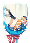 1girl afloat bangs beret blonde_hair blue_legwear blue_shirt blue_shorts boots copyright_request covered_mouth cup drinking_glass eyebrows_visible_through_hair food fruit glass grey_footwear hair_between_eyes hair_ribbon hat ikeuchi_tanuma in_container in_cup legs legs_up looking_at_viewer lying minigirl object_hug on_back orange orange_slice red_eyes ribbon sailor_collar school_uniform serafuku shirt short_hair short_sleeves shorts simple_background socks solo white_background