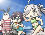 +++ 2girls ahoge animalization asashimo_(kantai_collection) ball beach beachball blue_sky brown_hair chibi commentary_request dated day flip-flops glasses green_eyes hair_over_one_eye hamu_koutarou kantai_collection lifebuoy long_hair marine_day multiple_girls muscle okinami_(kantai_collection) outdoors ponytail rensouhou-chan sandals seal sharp_teeth shimakaze_(kantai_collection) shimakaze_(seal) short_hair silver_hair sky sunglasses swimsuit teeth whistle