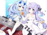 2girls ahoge azur_lane bangs bendy_straw black_bow black_ribbon blue_eyes blue_hair blue_horns blue_sailor_collar blunt_bangs bow collarbone commentary_request cowboy_shot cup detached_sleeves disposable_cup drinking drinking_straw eyebrows_visible_through_hair gudon_(iukhzl) hair_bun hair_flaps hair_ribbon i-13_(azur_lane) long_hair long_sleeves looking_at_another multicolored_hair multiple_girls off_shoulder oni_horns pantyhose purple_eyes purple_hair ribbon ribbon-trimmed_legwear ribbon_trim sailor_collar see-through short_eyebrows side_cutout sidelocks single_thighhigh streaked_hair stuffed_alicorn submarine swimsuit thighhighs unicorn_(azur_lane) water_drop watercraft white_legwear white_swimsuit