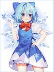 1girl bangs bloomers blue_bow blue_dress blue_eyes blue_hair blush bow bowtie chariko cirno cowboy_shot crystal dress english_commentary hair_bow hand_on_hip heart highres ice ice_wings looking_at_viewer puffy_short_sleeves puffy_sleeves red_bow short_hair short_sleeves smile snowflake_background snowflake_print solo standing touhou underwear white_background wings