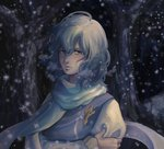 1girl ahoge arm_holding blue_eyes blue_hair breath crossed_arms expressionless forest hair_between_eyes letty_whiterock long_sleeves looking_at_viewer medium_hair nature no_headwear outdoors pin samuhiro_(affairshero85) scarf snowing solo touhou upper_body wind