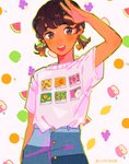 1girl apple bangs blush border brown_eyes brown_hair cherry cherry_earrings denim earrings food food_themed_earrings fruit grapes green_apple green_border hand_up highres jeans jewelry leaf lemon open_mouth orange orange_slice original pants peach print_shirt routexx shirt shirt_tucked_in short_sleeves signature smile solo strawberry twintails watermelon white_background white_shirt