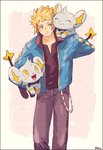 1boy artist_name black_border blonde_hair blush border carrying closed_eyes cowlick denim denji_(pokemon) fangs gen_4_pokemon holding_pokemon jacket jeans looking_at_another male_focus noaki open_clothes open_jacket over_shoulder pants pokemon pokemon_(creature) pokemon_(game) pokemon_dppt shinx smile yellow_eyes