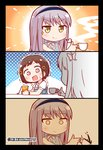 2girls =3 >:) absurdres bang_dream! black_border blue_shirt border brown_eyes brown_hair color_drain comic cup drinking_straw dropping english_text flower grey_hair hair_flower hair_ornament hairband hazawa_tsugumi highres holding holding_cup jojo_no_kimyou_na_bouken kyou_(user_gpks5753) meme minato_yukina multiple_girls neck_ribbon ribbon shirt smug sparkle steam sweatdrop teacup to_be_continued trembling white_neckwear white_shirt yellow_eyes