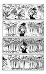 3girls 4koma animal_ears bangs bird_wings blouse bow breasts cirno comic commentary_request dress evil_smile feathered_wings flipped_hair forest glowing greyscale hair_bow hair_ribbon half-closed_eyes highres ice ice_wings juliet_sleeves koyubi_(littlefinger1988) leaning_forward long_sleeves looking_at_viewer looking_away monochrome multiple_girls mystia_lorelei nature necktie open_mouth out_of_frame outdoors outstretched_arms outstretched_hand puffy_sleeves ribbon rumia short_hair silent_comic small_breasts smile spread_arms touhou tree upper_body vest wing_collar wings