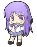 1girl angel_beats! bangs blush brown_footwear chibi closed_mouth commentary_request eyebrows_visible_through_hair full_body hair_between_eyes hands_on_own_cheeks hands_on_own_face hands_up irie_(angel_beats!) loafers long_hair long_sleeves looking_at_viewer neckerchief pink_neckwear pleated_skirt purple_eyes purple_hair purple_skirt rinechun school_uniform serafuku shirt shoes simple_background skirt smile socks solo standing very_long_hair white_background white_legwear white_shirt