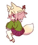 1girl animal_ear_fluff animal_ears bangs bell bell_collar blonde_hair blush brown_collar brown_footwear closed_mouth collar eyebrows_visible_through_hair fox_ears fox_girl fox_tail full_body green_shirt hair_between_eyes hair_bun hair_ornament highres jingle_bell kemomimi-chan_(naga_u) long_hair long_sleeves looking_at_viewer looking_to_the_side lying naga_u on_side original pleated_skirt profile purple_skirt red_eyes ribbon-trimmed_legwear ribbon_trim sailor_collar shirt sidelocks simple_background skirt sleeves_past_fingers sleeves_past_wrists solo tail thighhighs white_background white_legwear white_sailor_collar