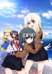 4girls :d absurdres animal_ears black_hair black_skirt blue_eyes blue_legwear blue_ribbon breasts brown_eyes brown_jacket cloud cloudy_sky day detached_sleeves drill_hair eyebrows_visible_through_hair fate/kaleid_liner_prisma_illya fate_(series) fox_ears hair_between_eyes hair_ornament hair_ribbon hairclip highres illyasviel_von_einzbern kaleido_ruby kaleido_sapphire large_breasts leaning_forward long_hair luviagelita_edelfelt miniskirt miyu_edelfelt multiple_girls open_mouth outdoors pleated_skirt red_eyes ribbon school_uniform silver_hair skirt sky smile standing thighhighs toosaka_rin
