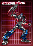 1boy autobot blue_eyes cannon character_name clenched_hand full_body grid grid_background headgear looking_at_viewer machinery mecha no_humans optimus_prime paintedmike red_background solo transformers transformers_prime weapon