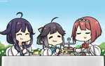 3girls ahoge ark_royal_(kantai_collection) bangs black_hair blue_sky blunt_bangs bob_cut brown_gloves cake closed_eyes commentary cup dated day dress eating fingerless_gloves flower food gloves gradient_sky hair_flaps hair_ribbon hairband hamu_koutarou hand_on_own_face hayanami_(kantai_collection) highres kantai_collection long_hair long_sleeves low_twintails macaron magatama multiple_girls outdoors ponytail purple_dress purple_hair red_flower red_hair red_ribbon red_rose ribbon rose saucer school_uniform serafuku shirt short_hair sidelocks sky table taigei_(kantai_collection) teacup tiara twintails white_ribbon white_shirt