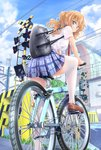 1girl absurdres ahoge bag bangs bicycle blue_skirt blue_sky blurry blush breasts building charm_(object) cloud day depth_of_field eyebrows_visible_through_hair from_behind fumikiri_jikan ground_vehicle highres loafers long_hair looking_at_viewer looking_back mashima_eriko necktie orange_hair outdoors outline plaid plaid_skirt pleated_skirt railroad_crossing red_neckwear riding sato_yoshimi school_bag school_uniform shirt shoes short_sleeves shoulder_bag sidelocks skirt sky smile solo thighhighs white_legwear white_shirt zettai_ryouiki