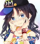 1girl amidada bangs baseball_cap bead_necklace beads black_hair black_hat blue_eyes blue_shirt blush bracelet breasts cleavage closed_mouth collarbone eyebrows_visible_through_hair glasses hair_ornament hands_on_own_cheeks hands_on_own_face hands_up happy_birthday hat head_tilt idolmaster idolmaster_shiny_colors jewelry long_hair looking_at_viewer mitsumine_yuika necklace off_shoulder shirt short_sleeves sidelocks sideways_hat solo sweat twintails upper_body wavy_hair wavy_mouth white-framed_eyewear wristband