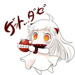 1girl chibi commentary dress highres horns kantai_collection mittens northern_ocean_hime pale_skin pokemon pokemon_go shinkaisei-kan translated white_dress yume_shokunin