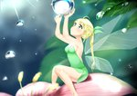 1girl absurdres ahoge arms_up backless_outfit bangs bare_arms bare_shoulders blonde_hair blurry blurry_background blush braid breasts cleavage commentary_request depth_of_field detached_wings dress eyebrows_visible_through_hair fairy fairy_wings flower green_dress green_eyes green_ribbon hair_ribbon highres long_hair looking_away looking_up luna_(mi-chanman) medium_breasts open-back_dress original parted_lips pink_flower ponytail ribbon sitting solo strapless strapless_dress very_long_hair water_drop wings