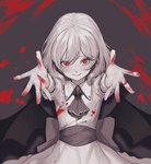 1girl ascot bangs bat_wings blood bloody_clothes bloody_hands blush brooch cowboy_shot dress eyebrows_visible_through_hair foreshortening frilled_shirt_collar frills grey_background greyscale heoningu highres jewelry looking_at_viewer monochrome no_hat no_headwear reaching_out red_eyes remilia_scarlet sash shadow short_hair short_sleeves simple_background smile solo spot_color symbol_commentary touhou wings