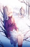 1boy 1girl artist_name ascot bangs berserker black_hair blood bloody_tears boots building closed_eyes cloud cloudy_sky collared_shirt commentary day eyebrows_visible_through_hair fate/stay_night fate_(series) frilled_skirt frills hair_between_eyes illyasviel_von_einzbern long_hair long_sleeves mansion outdoors parted_lips pleated_skirt purple_footwear purple_neckwear purple_shirt rimuu shirt sitting skirt sky sleeves_past_wrists snow snowing standing tree very_long_hair watermark web_address white_hair white_skirt