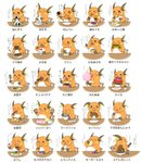 blush_stickers bowl commentary_request creature dorairo drinking eating food food_request fruit gen_1_pokemon highres holding holding_bowl holding_food holding_fruit licking multiple_views no_humans noodles onigiri plate pokemon pokemon_(creature) pudding raichu ramen senbei simple_background sitting sushi table translation_request upper_body watermelon white_background