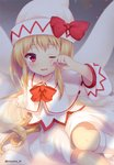 1girl artist_name bed_sheet blonde_hair blush bow bowtie capelet commentary_request dress fairy_wings feet_out_of_frame hand_up hat hat_bow kneehighs light_particles lily_white long_hair long_sleeves looking_at_viewer nnyara red_bow red_eyes red_neckwear sitting solo thighs touhou twitter_username very_long_hair white_capelet white_dress white_headwear white_legwear wings