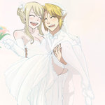 1boy 1girl blonde_hair commentary dress fairy_tail h hiro_mashima jewelry link lucy_heartfilia nintendo pointy_ears ring the_legend_of_zelda thighhighs tuxedo wedding wedding_band wedding_dress