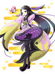1girl :d black_eyes black_hair black_legwear black_shoes butterfly dress floral_print frilled_kimono frills full_body furisode gym_leader hair_ornament hand_to_own_mouth high_heels highres japanese_clothes kimono long_hair long_sleeves looking_at_viewer mache_(pokemon) nekomissile obi open_mouth pantyhose petticoat platform_footwear platform_heels pokemon pokemon_(creature) pokemon_(game) pokemon_xy purple_eyes sash shoes short_kimono short_yukata sidelocks simple_background sleeves_past_wrists smile spritzee standing thighhighs very_long_hair white_background wide_sleeves yukata