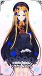 1girl abigail_williams_(fate/grand_order) absurdres bangs black_bow black_dress black_headwear blonde_hair blue_eyes bow closed_mouth dress fate/grand_order fate_(series) forehead hair_bow hat highres holding holding_stuffed_animal long_hair long_sleeves looking_at_viewer multiple_bows orange_bow parted_bangs polka_dot polka_dot_bow ribbed_dress sleeves_past_fingers sleeves_past_wrists solo stuffed_animal stuffed_toy teddy_bear white_background white_bloomers yeong