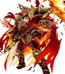 1boy armor beard black_armor cape clenched_teeth facial_hair feathers fire fire_emblem fire_emblem_heroes gauntlets glowing glowing_eye greaves helmet highres holding holding_weapon horned_helmet maeshima_shigeki male_focus molten_rock official_art orange_hair red_cape red_eyes scar scar_across_eye scythe shoulder_armor solo surtr_(fire_emblem_heroes) teeth torn_cape transparent_background weapon