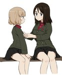 2girls bangs black_hair black_skirt blonde_hair blue_eyes closed_mouth commentary girls_und_panzer green_jacket insignia jacket katyusha long_hair long_sleeves looking_at_another miniskirt multiple_girls nogitatsu nonna pleated_skirt pravda_school_uniform red_shirt school_uniform shirt short_hair simple_background sitting skirt swept_bangs turtleneck white_background