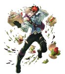1boy alternate_costume bag basket belt blonde_hair boots fire_emblem fire_emblem_heroes fire_emblem_if food full_body gloves hairband hamburger highres hino_shinnosuke jewelry leon_(fire_emblem_if) male_focus necklace open_mouth red_eyes sandwich solo teeth tomato torn_clothes