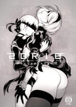1boy 1girl ass back_cutout blindfold breasts choker commentary_request cover cover_page doujin_cover dress fishine greyscale hairband height_difference hetero hug juliet_sleeves kiss leotard leotard_under_clothes long_sleeves monochrome neck_kiss nier_(series) nier_automata puffy_sleeves short_hair thick_thighs thighhighs thighs thong_leotard yorha_no._2_type_b yorha_no._9_type_s