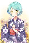 1girl >:( alternate_hairstyle aqua_hair bang_dream! blue_flower clenched_hand floral_background floral_print flower green_eyes hair_bun hair_flower hair_ornament hair_up highres hikawa_sayo japanese_clothes kimono looking_at_viewer obi sash solo sunflower taya_5323203 upper_body water_drop wide_sleeves