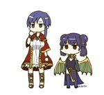2girls artist_name cape cosplay costume_switch dragon_wings dress elbow_gloves fire_emblem fire_emblem:_rekka_no_ken fire_emblem:_seima_no_kouseki fire_emblem_heroes gloves long_hair mamkute multi-tied_hair multiple_girls myrrh myrrh_(cosplay) purple_hair sandals short_hair side_slit simple_background sksk7r thighhighs twintails ursula_(fire_emblem) ursula_(fire_emblem)_(cosplay) white_background white_dress wings