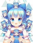 6+girls :3 :d ;d =_= >_< ahoge blue_eyes blue_hair bow chibi chibi_on_head chibi_on_shoulder cirno closed_eyes eyebrows_visible_through_hair facing_viewer grin hair_bow ice ice_wings looking_at_viewer minigirl multiple_girls multiple_persona on_head on_shoulder one_eye_closed open_mouth person_on_head pjrmhm_coa short_hair short_sleeves sleeping smile touhou triangle white_background white_sleeves wings