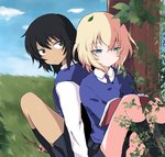 2girls aimai_(luckyfive) andou_(girls_und_panzer) back-to-back bangs bc_freedom_school_uniform black_hair black_legwear black_skirt black_vest blonde_hair blue_eyes blue_neckwear blue_sky blue_sweater book brown_eyes cardigan closed_mouth cloud cloudy_sky commentary_request dark_skin diagonal_stripes dress_shirt eyebrows_visible_through_hair girls_und_panzer grass half-closed_eyes holding holding_book light_frown long_sleeves looking_at_another looking_back medium_hair messy_hair miniskirt multiple_girls necktie oshida_(girls_und_panzer) outdoors plant pleated_skirt red_neckwear school_uniform shirt sitting skirt sky socks striped striped_neckwear sweater sweater_around_neck tree twig vest white_shirt wing_collar