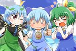 3girls :t >_< antennae blue_bow blue_dress blue_hair blue_sky blush bow brown_eyes butterfly_wings cirno cloud commentary daiyousei dress eternity_larva facing_viewer fairy_wings flower green_dress green_hair hair_bow hair_ribbon heart ice ice_wings leaf leaf_on_head looking_at_viewer multiple_girls one_eye_closed open_mouth plant puffy_short_sleeves puffy_sleeves ribbon rokugou_daisuke short_hair short_sleeves side_ponytail sky smile sunflower tan tanned_cirno touhou vines wings yellow_ribbon